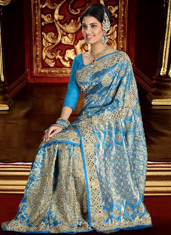 Latest Brocade Bridal Saree Collection 2013/2014   Indian Brocade ...