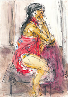 Maja-Helen Feustel: Tania (Figur), Tuschzeichnung aquarelliert, 2012
