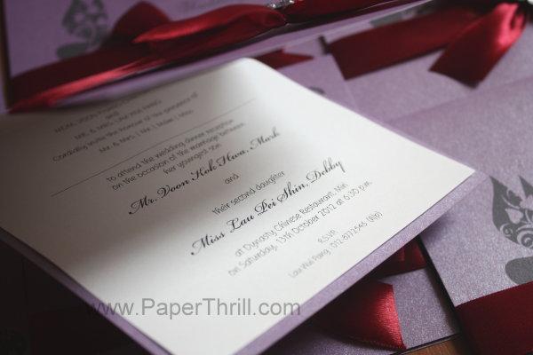 purple butterfly wedding cards