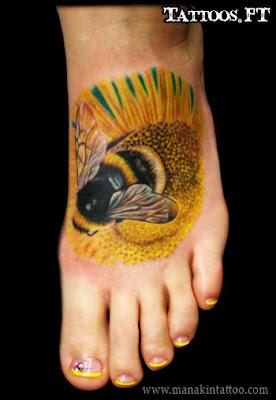de Tatuagens Abelha no Pé