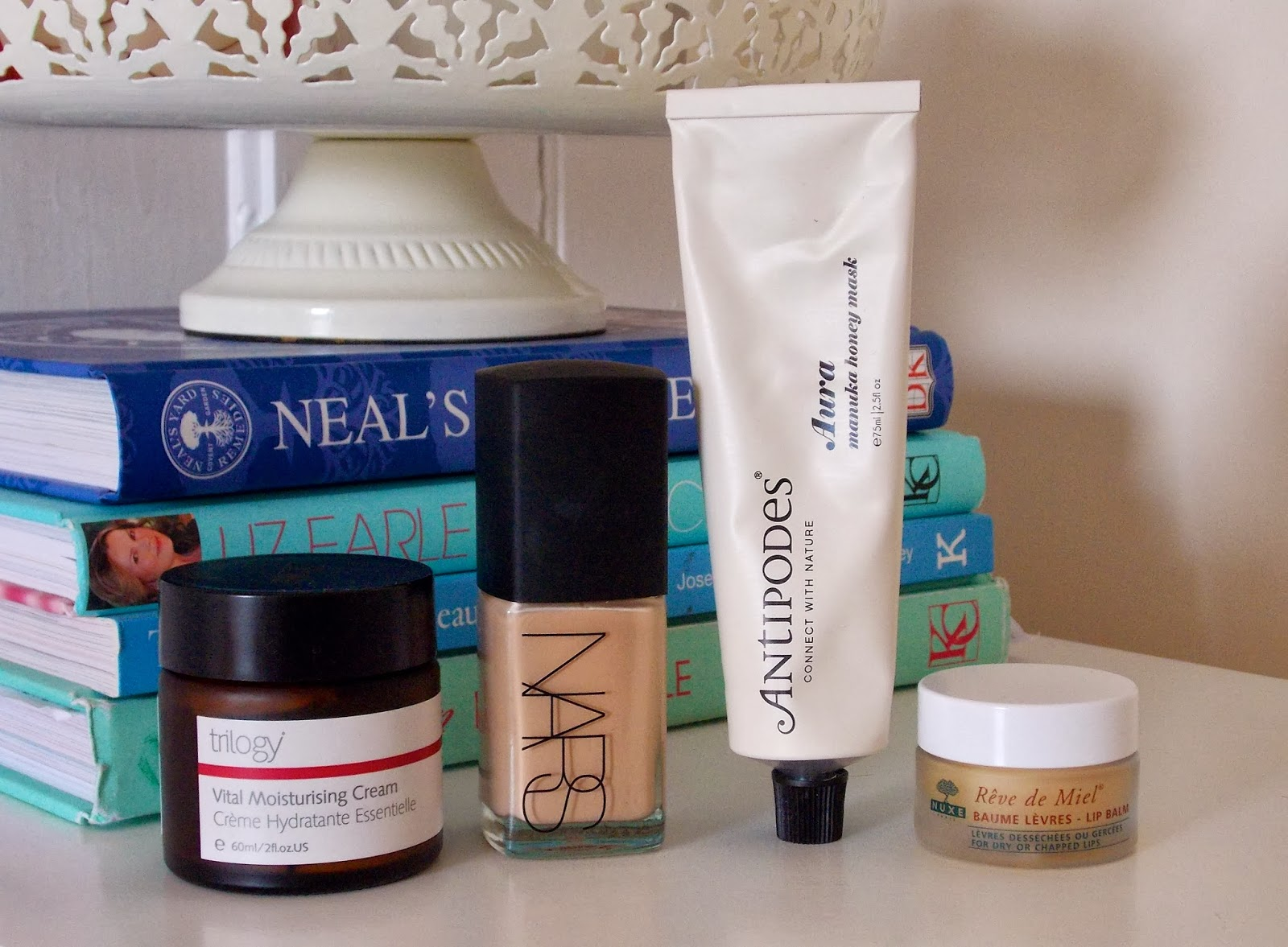Trilogy Vital Moisturising Cream, Nars Sheer Glow Foundation, Antipodes Aura Manuka Honey Mask, Nuxe Reve de Miel Lip Balm