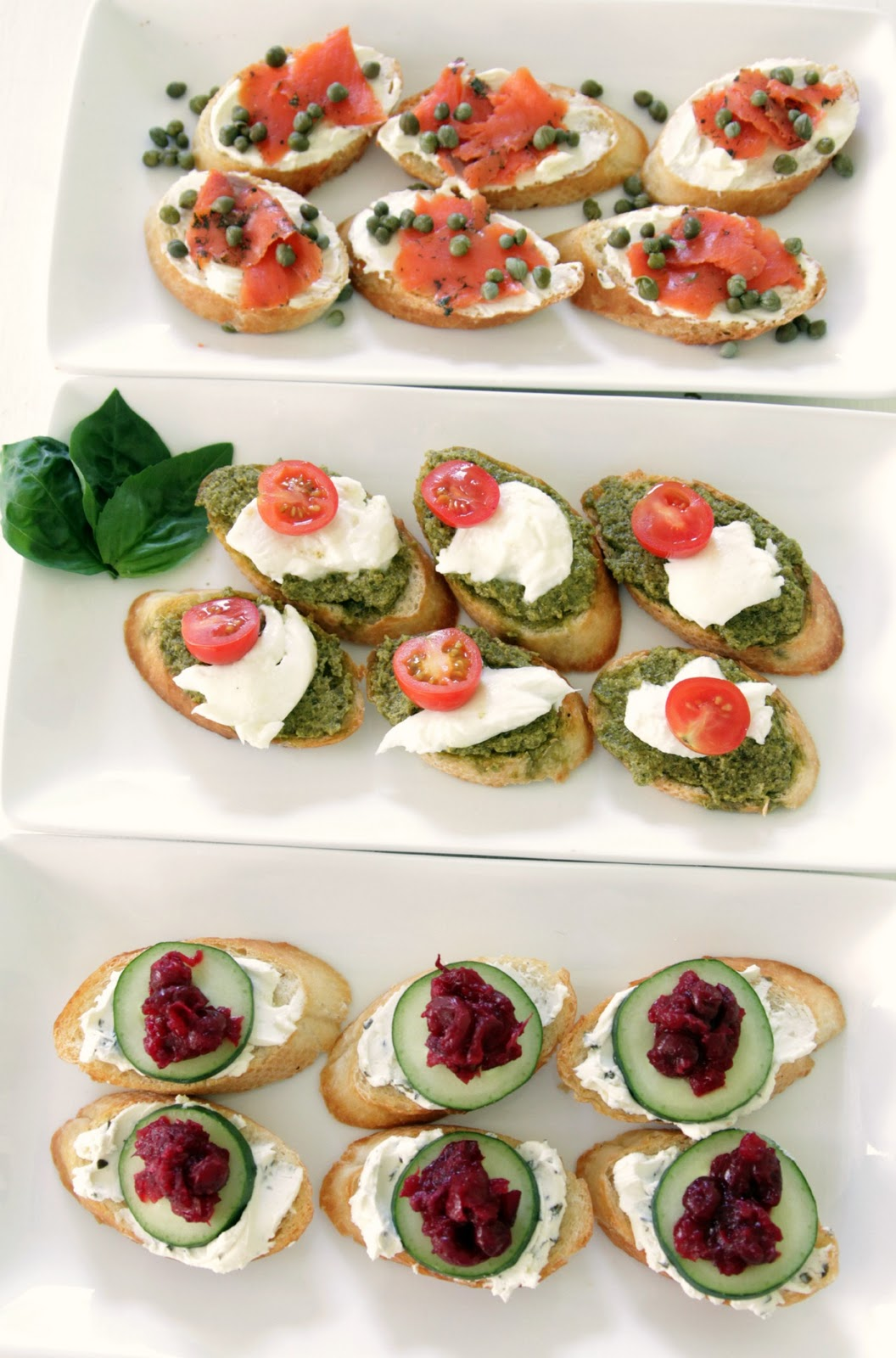Food three ways to serve crostini made by girl for Mozzarella canape