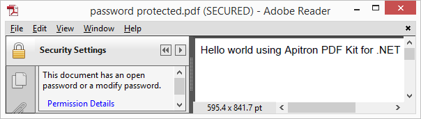 Pic. 2 Opened password protected PDF document