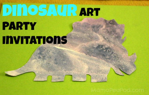 dinosaur birthday party invitations made from kids salt and watercolour art work