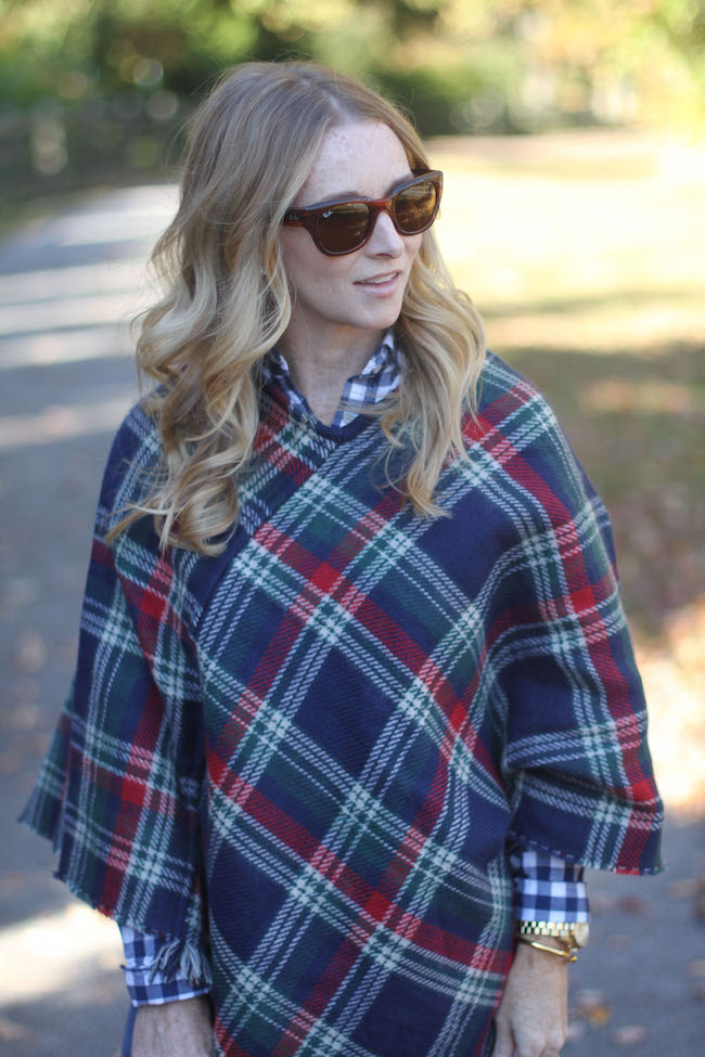 ray ban sunglasses, plaid cape