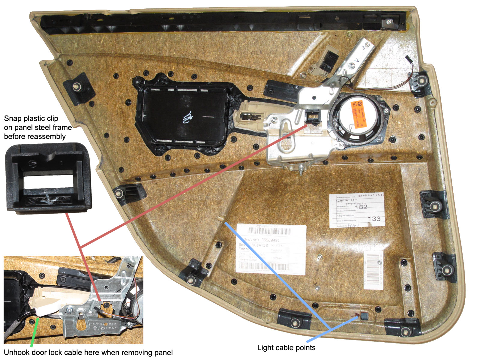 Fixing Stuff E60 Rear Window Regulator Repair Door Wiring Harness Diagram 2004 Bmw 525i As Mentioned Above Remove The Center Plastic Clip On Chassis Using A Needle Nose Pliers To Squeeze Spring Post Then Pull It Out