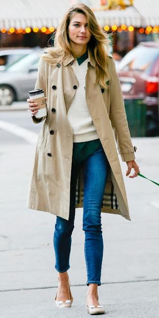Jess Hart street style walking dog coat