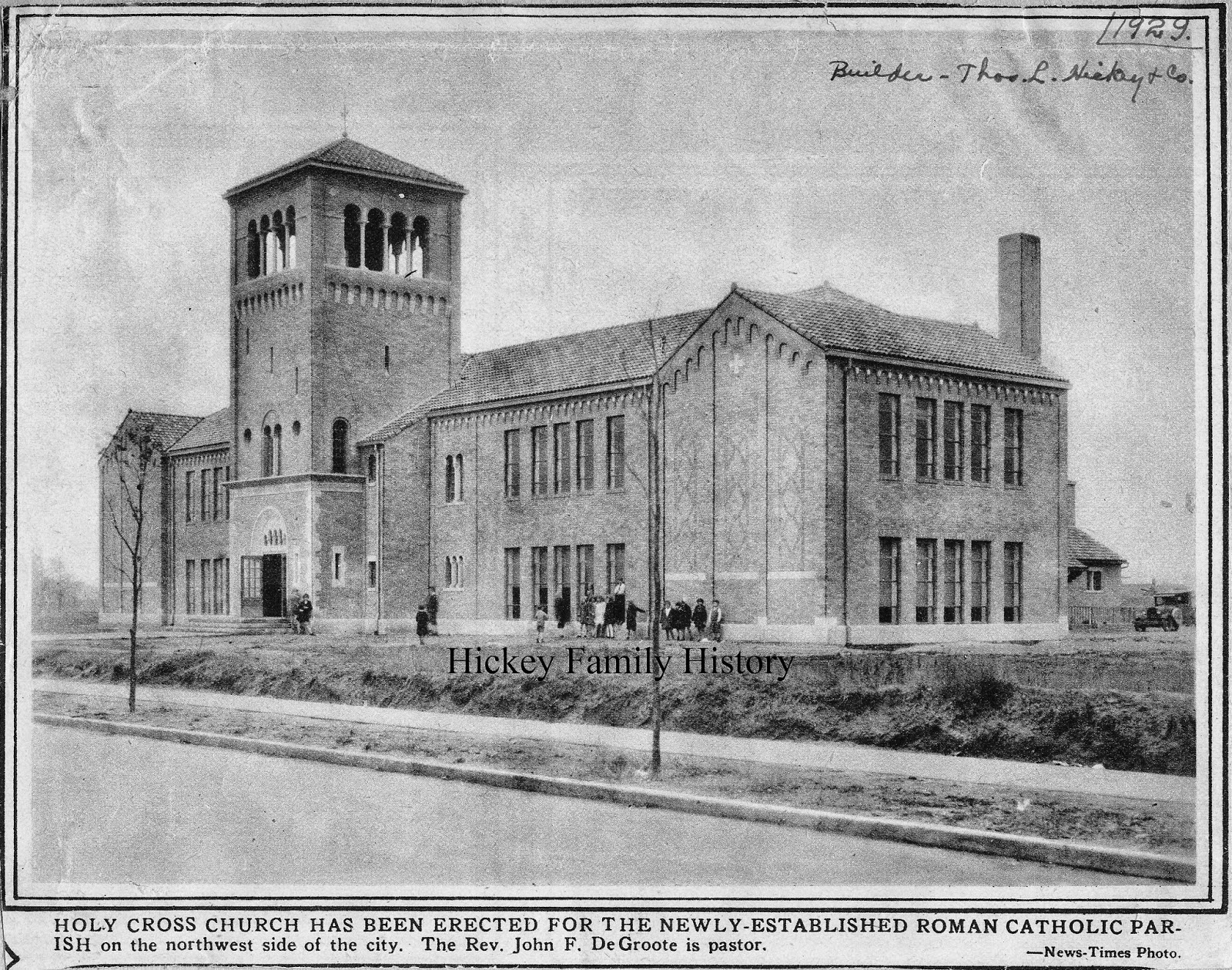 1929 thomas l hickey built holy cross grade school and chapel in south bend