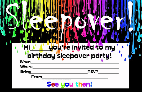 Free Printable Sleep Over Birthday Party Invitations