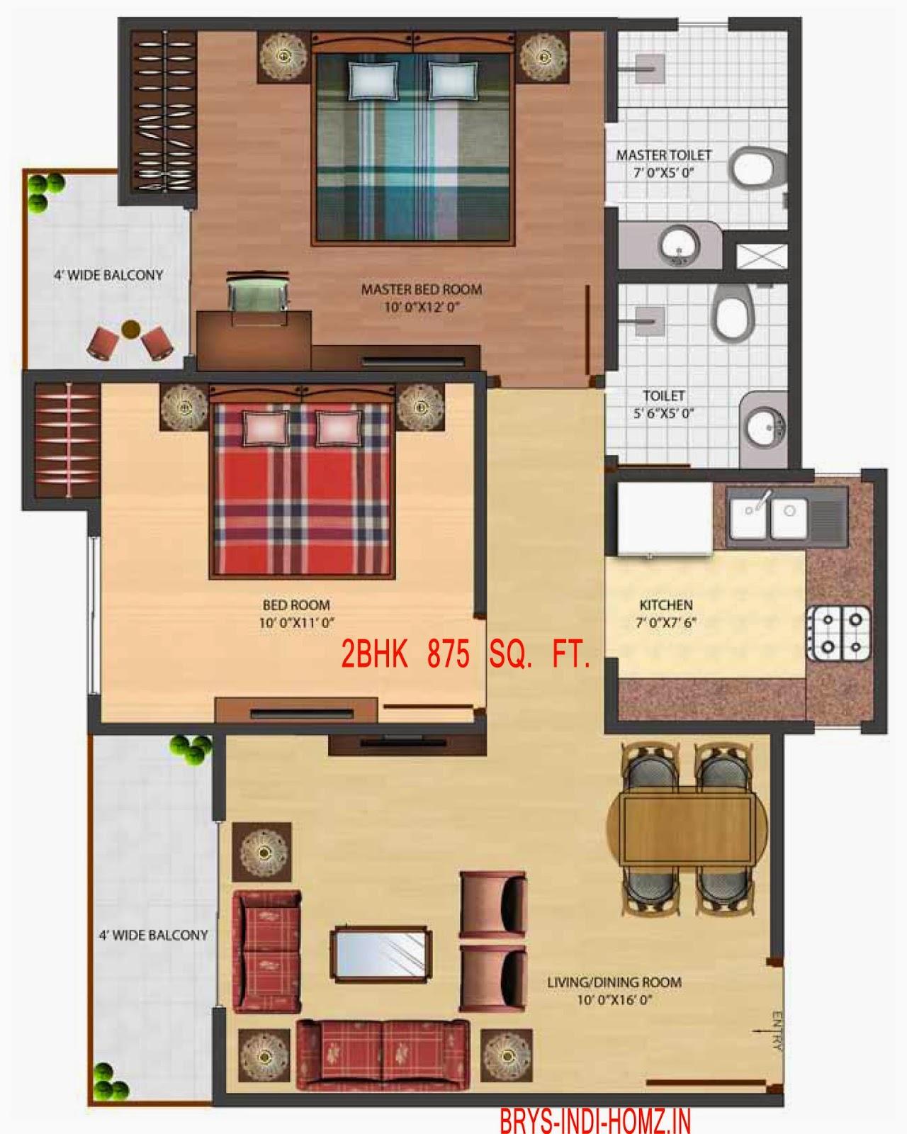 BRYS IndiHomz :: Floor Plans 2 BHK 875 Sq. Ft.