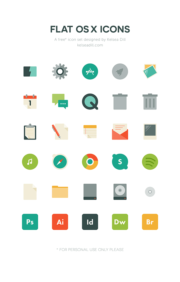 Flat OS X Icons (Free Download)