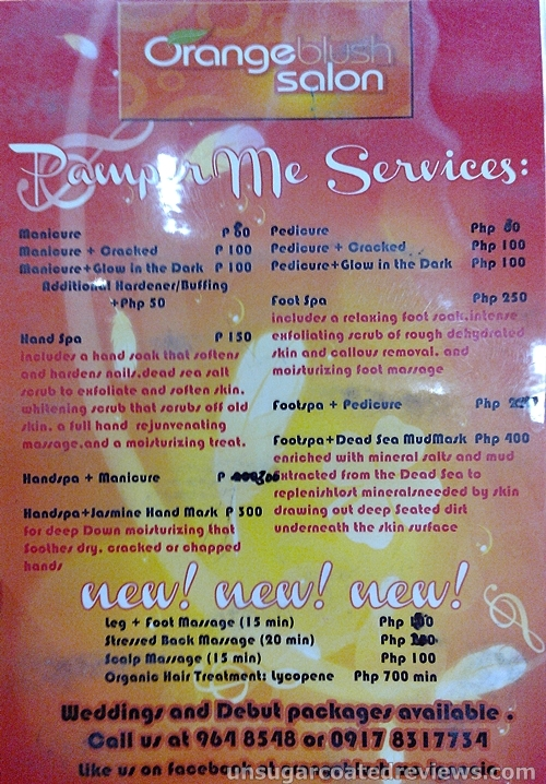 list of services of Orange Blush Salon Mother Ignacia branch