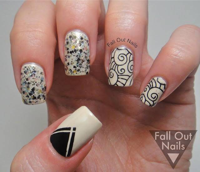 stamping striping glitter nail art 1