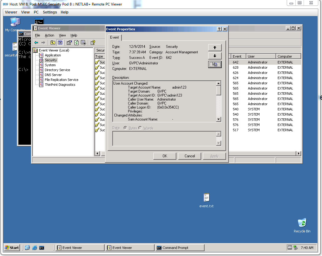Windows command prompt nmap - In The Command Prompt We Then Made A New User After Doing This We Went Into The Event Viewer And Saw That Making The User Had Been Logged