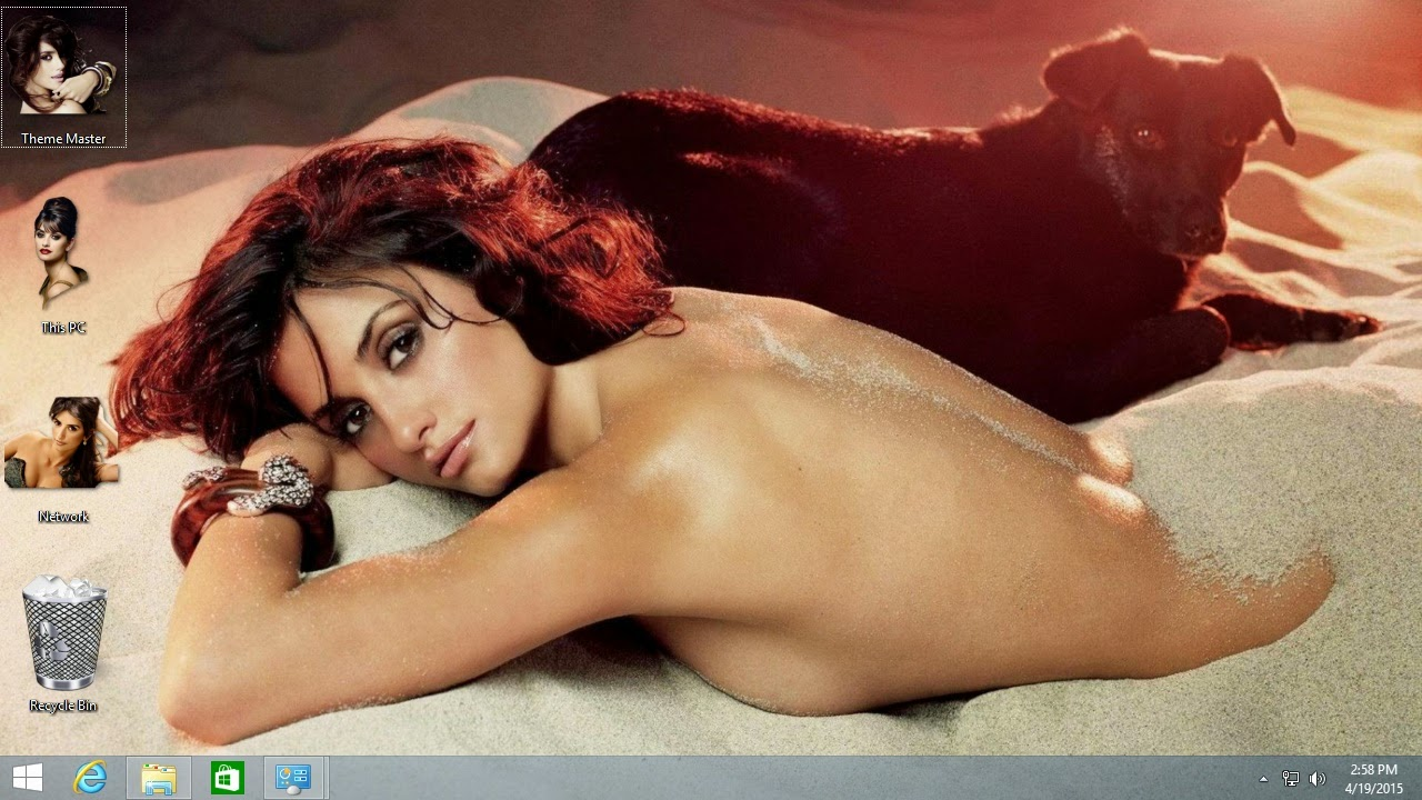 Use Sexy Nude Penelope Cruz Theme on laptop