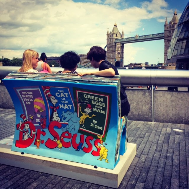 Book shaped bench in London with Dr Seuss being painted on it