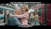 spot italo treno con canzone azzurro - bambina e babbo si abbracciano