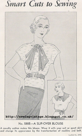a 1930's Sewing pattern for a women's Nifty Blouse