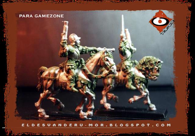 Miniaturas de los tercios del Imperio diseñadas y esculpidas por ªRU-MOR para gamezone a escala warhammer fantasy. Pistoleros o caballería ligera