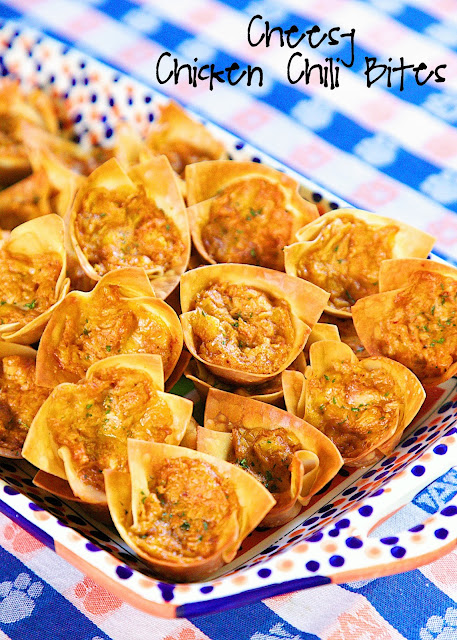 Cheesy Chicken Chili Bites - only 5 ingredients! Chicken, chili seasoning, ranch, cheese baked in wonton wrappers. I ate way too many of these!! SO good. Can make filling ahead of time and refrigerate. Great for parties and tailgates. Tastes great warm or at room temperature.