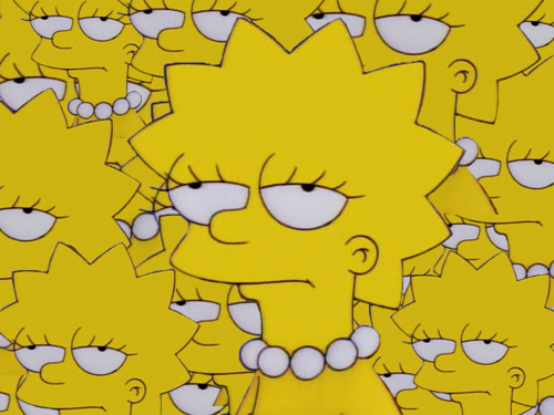 Collage of Lisa Simpson's annoyed face.