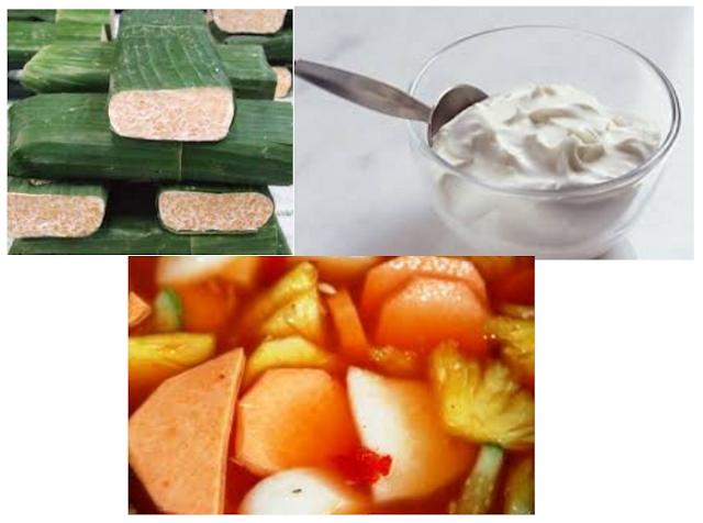 Tempe, yoghurt, dan asinan merupakan makanan hasil fermentasi