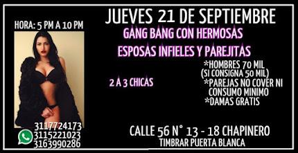 JUEVES 21 DE SEPTIEMBRE DE 5 PM A 10 PM GANG BANG NUDISTA CON HERMOSAS ESPOSAS INFIELES CHAPINERO