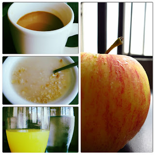 healthy breakfast-fruit-apple-outmeal-juice-water