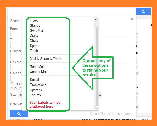 Explore more Gmail search options