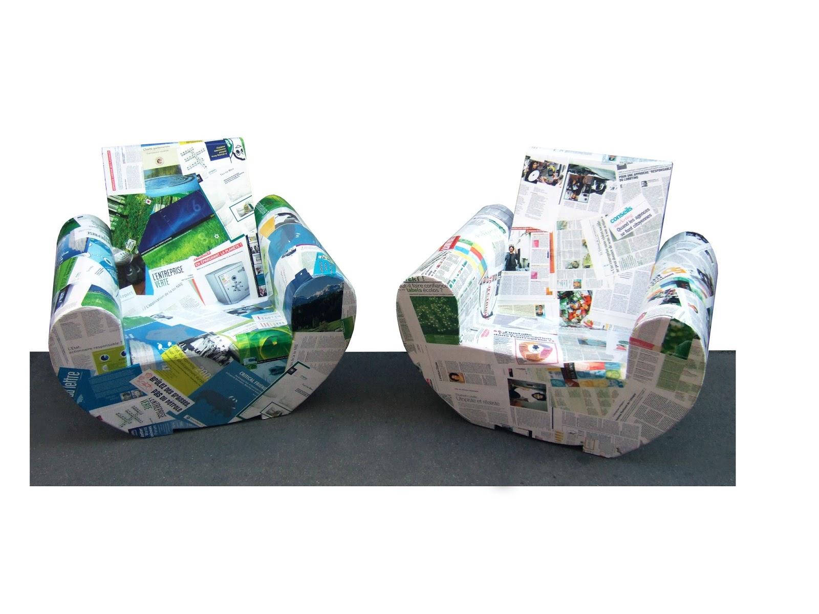 fauteuil club en carton design. marouflage papier et bande dessinée. création en carton sur mesure fabriqué à marseille par juliadesign