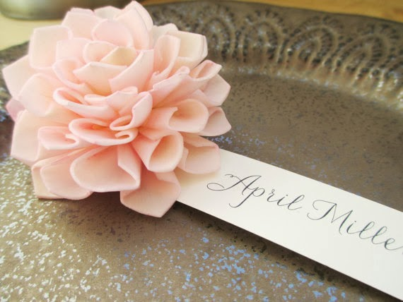 Blush Wooden Flower Place Cards, Rustic Wedding Place Cards, Escort Cards, Pink Wedding