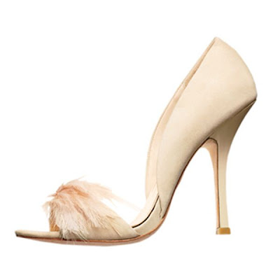 sapatos badgley mischka branco rosa com penas