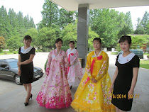 Pyongyang women in traditional Korean dresses, North Korea