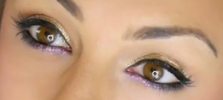gold and purple eyes makeup style for girls