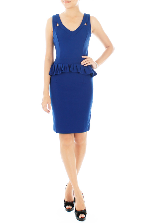 Mode Evening Peplum Dress – Blue