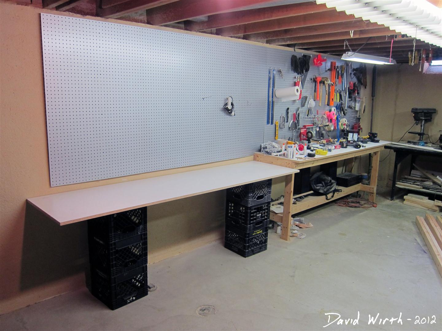 Great Arts And Crafts Area With Work Area In Basement