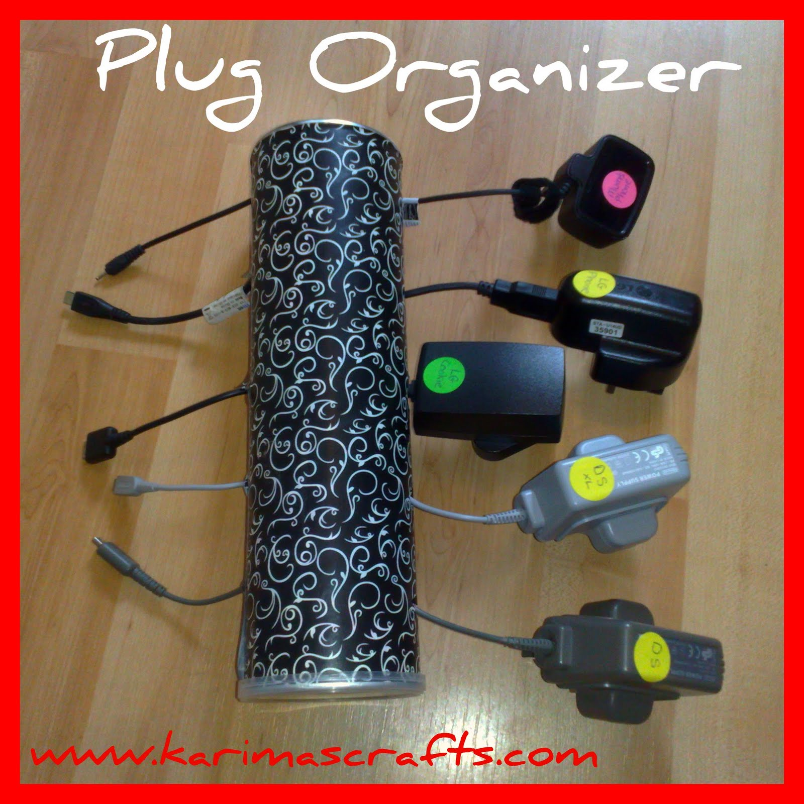 This is a great upcycling craft too, less for the rubbish bin! Below is  another close-up photo of my plug organizer.