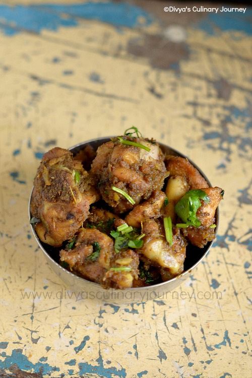 Spicy chicken fry made in Andhra style