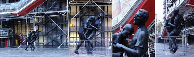 Zinedine Zidane headbutt statue (different views)