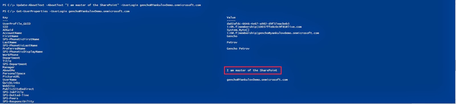 Write and Get User Profile Property with CSOM