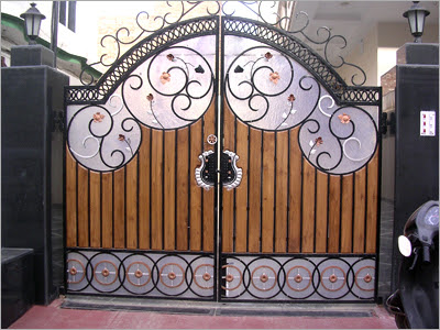 Home wall decoration luxury homes iron gates designs ideas for Wall gate design homes