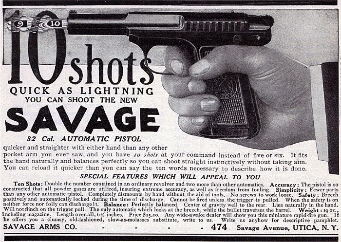 ammo and gun collector  1907 savage 32 pocket pistol semi auto