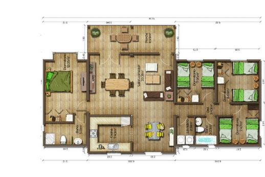 Dise os de casas planos gratis planos de casas gratis 119 m2 for Planos de casas de una planta 4 dormitorios