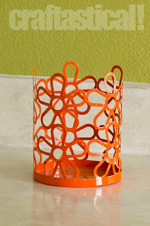 metal, orange, flower candle holder, thrifted