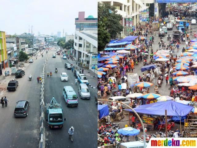 Pasar Tanah Abang Sesudah dan Sebelum Ditertibkan