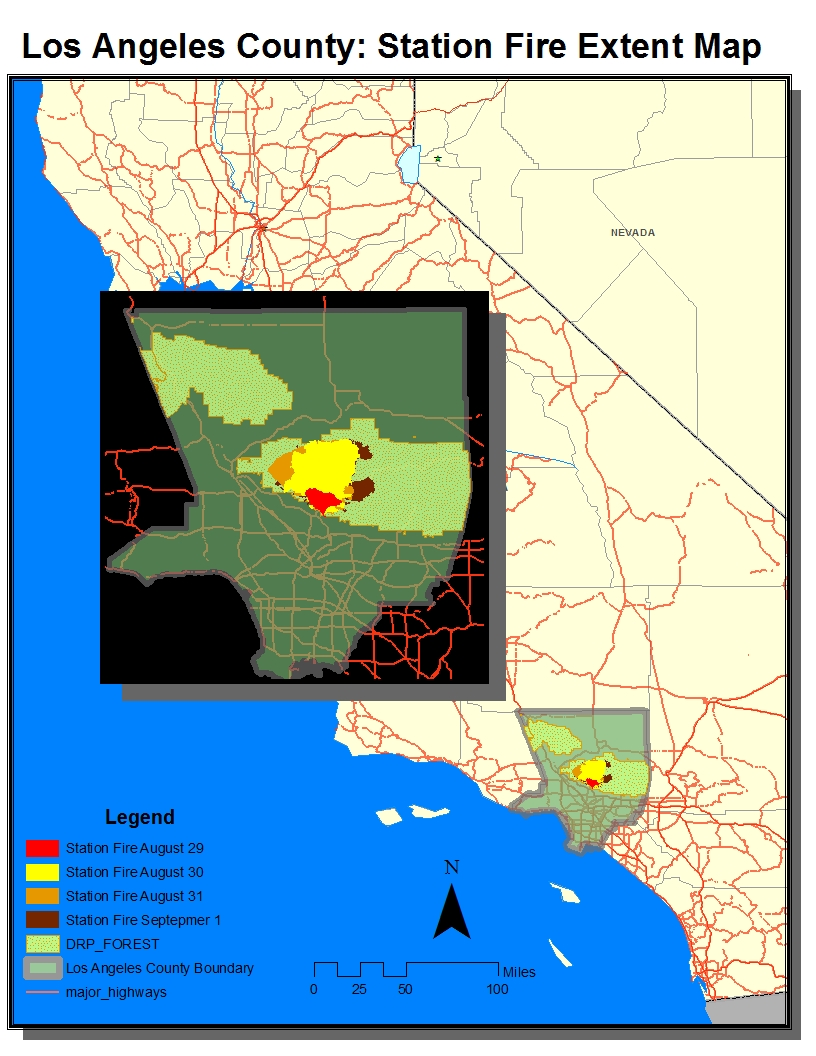 this week s lab concluded our work with arcgis by constructing maps concerning the station fire of 2009 centered in los angele s san gabriel mountains