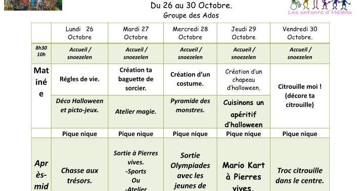 Les Enfants D 39 H L Ne Vacances De La Toussaint 2015