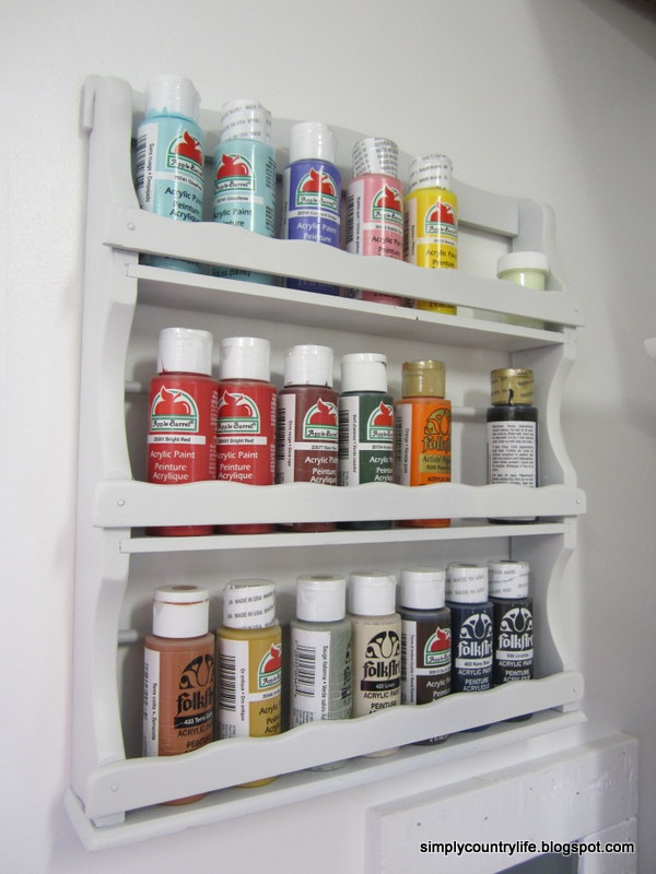 Spice Rack Paint Storage Mini Makeover & Simply Country Life: Spice Rack Paint Storage Mini Makeover