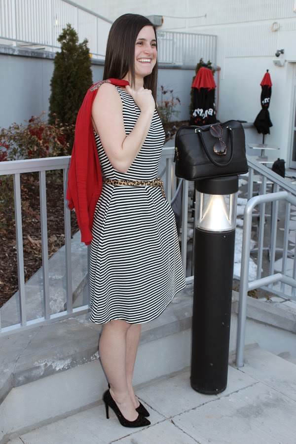 Target, Target striped dress, striped dress, red cardigan, black satchel, black purse, leopard belt, stripes