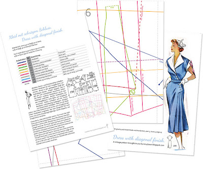 1950's Sewing - Dress with Diagonal Finish free pattern